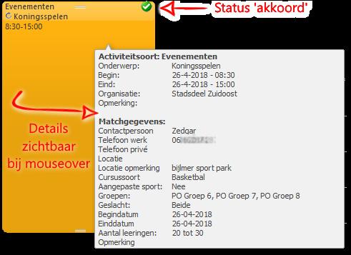 Activiteit in de CombinatiePlanner agenda met detail informatie en status