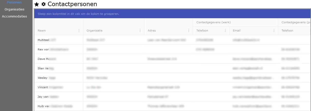 Administratie in de CombinatiePlanner omvat onder andere personeelsgegevens, organisatiegegevens en accommodatiegegevens